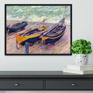 Dock of etretat three fishing boats by Monet Framed Print - Canvas Art Rocks - 2