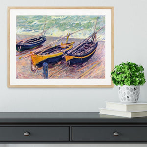 Dock of etretat three fishing boats by Monet Framed Print - Canvas Art Rocks - 3