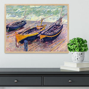 Dock of etretat three fishing boats by Monet Framed Print - Canvas Art Rocks - 4