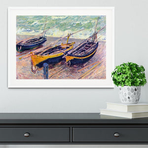 Dock of etretat three fishing boats by Monet Framed Print - Canvas Art Rocks - 5