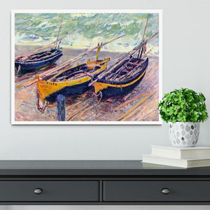 Dock of etretat three fishing boats by Monet Framed Print - Canvas Art Rocks -6