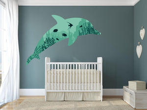 Dolphin Coral Wall Sticker - Canvas Art Rocks - 1