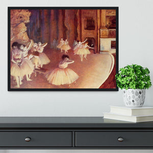 Dress rehearsal of the ballet on the stage by Degas Framed Print - Canvas Art Rocks - 2