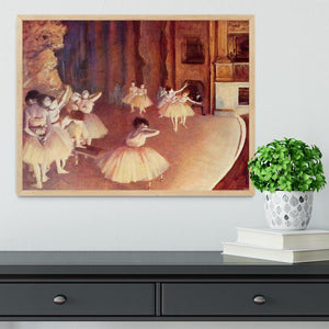 Dress rehearsal of the ballet on the stage by Degas Framed Print - Canvas Art Rocks - 4