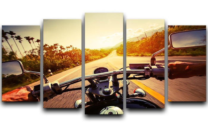 Driver riding motorbike 5 Split Panel Canvas