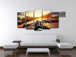 Driver riding motorbike 5 Split Panel Canvas  - Canvas Art Rocks - 3