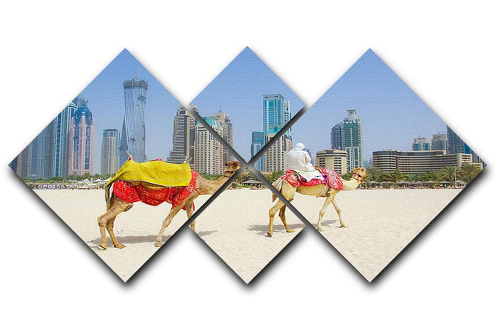 Dubai Camel on the town scape backround 4 Square Multi Panel Canvas