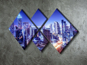 Dubai downtown night scene UAE 4 Square Multi Panel Canvas  - Canvas Art Rocks - 2