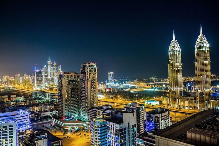 Dubai downtown night scene Wall Mural Wallpaper