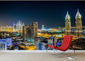 Dubai downtown night scene Wall Mural Wallpaper - Canvas Art Rocks - 2