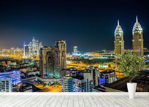 Dubai downtown night scene Wall Mural Wallpaper - Canvas Art Rocks - 4