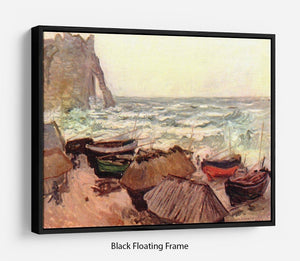Durchbrochener rock at Etretat by Monet Floating Frame Canvas