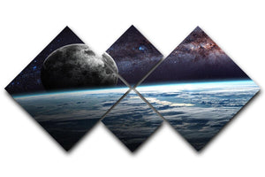 Earth Moon and Stars 4 Square Multi Panel Canvas  - Canvas Art Rocks - 1