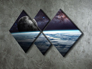 Earth Moon and Stars 4 Square Multi Panel Canvas - Canvas Art Rocks - 2