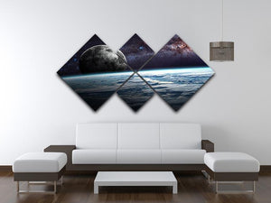 Earth Moon and Stars 4 Square Multi Panel Canvas - Canvas Art Rocks - 3
