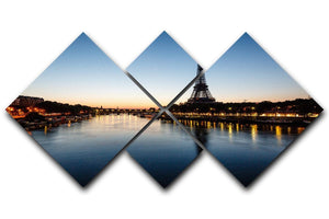 Eiffel Tower and d 4 Square Multi Panel Canvas  - Canvas Art Rocks - 1