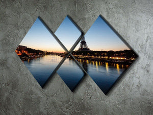 Eiffel Tower and d 4 Square Multi Panel Canvas  - Canvas Art Rocks - 2