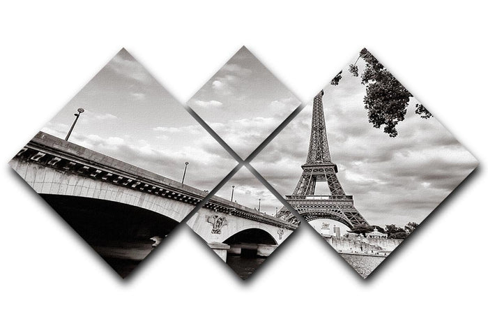 Eiffel tower view from Seine river 4 Square Multi Panel Canvas