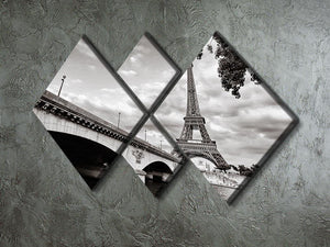 Eiffel tower view from Seine river 4 Square Multi Panel Canvas  - Canvas Art Rocks - 2