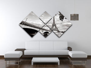 Eiffel tower view from Seine river 4 Square Multi Panel Canvas  - Canvas Art Rocks - 3