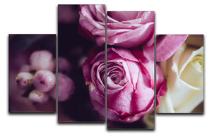 Elegant bouquet of pink and white roses 4 Split Panel Canvas  - Canvas Art Rocks - 1