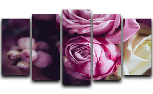 Elegant bouquet of pink and white roses 5 Split Panel Canvas  - Canvas Art Rocks - 1