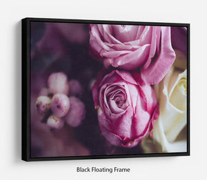 Elegant bouquet of pink and white roses Floating Frame Canvas