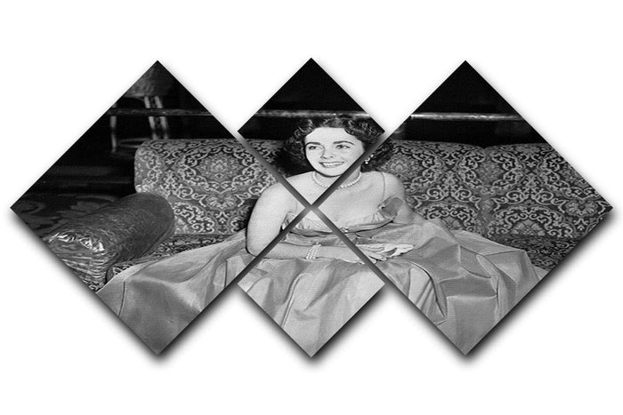 Elizabeth Taylor In A Dress 4 Square Multi Panel Canvas