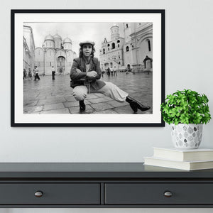 Elton John in Red Square Framed Print - Canvas Art Rocks - 1