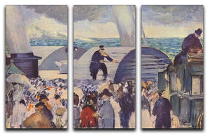 Embarkation of the Folkestone by Manet 3 Split Panel Canvas Print - Canvas Art Rocks - 1