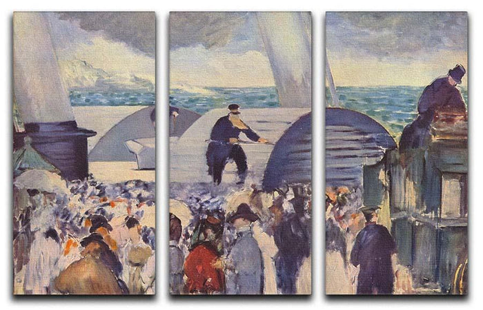 Embarkation of the Folkestone by Manet 3 Split Panel Canvas Print