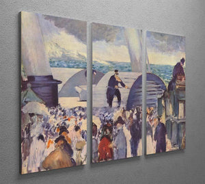 Embarkation of the Folkestone by Manet 3 Split Panel Canvas Print - Canvas Art Rocks - 2