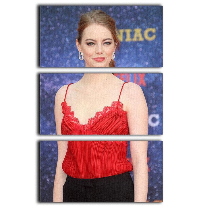Emma Stone in red 3 Split Panel Canvas Print