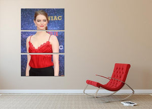 Emma Stone in red 3 Split Panel Canvas Print - Canvas Art Rocks - 2