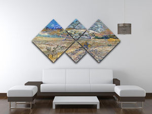 Enclosed Field with Peasant 4 Square Multi Panel Canvas - Canvas Art Rocks - 3