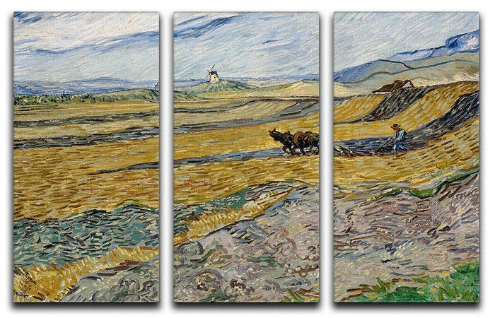 Enclosed Field with Ploughman 3 Split Panel Canvas Print