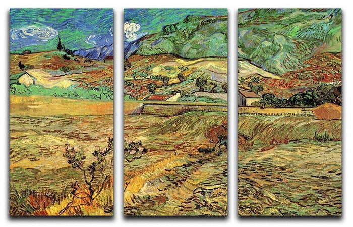 Enclosed Wheat Field with Peasant by Van Gogh 3 Split Panel Canvas Print