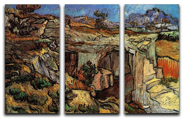 Entrance to a Quarry near Saint-Remy by Van Gogh 3 Split Panel Canvas Print