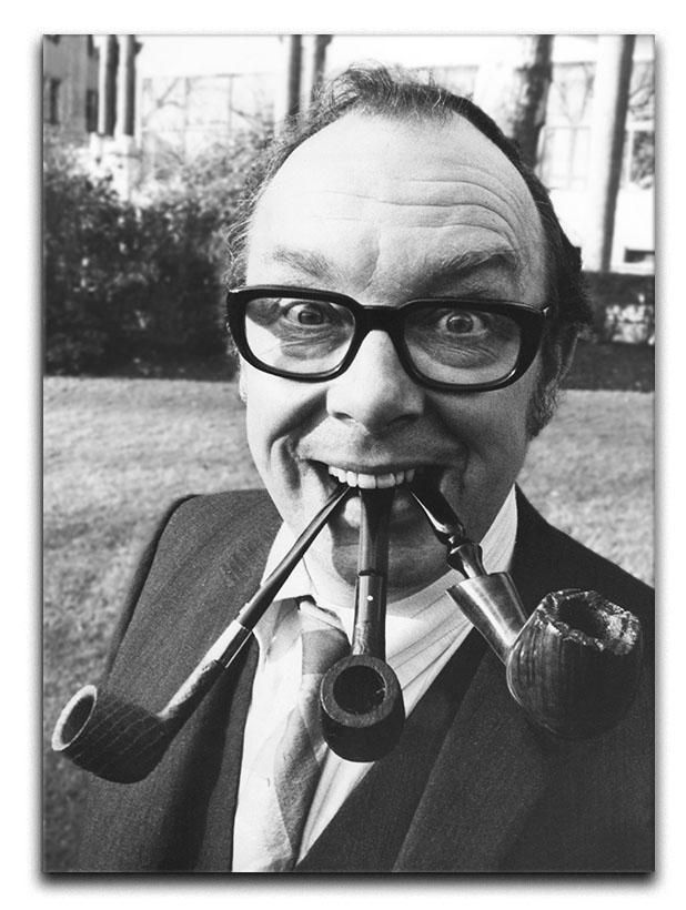 Eric Morecambe with three pipes in his mouth Canvas Print or Poster