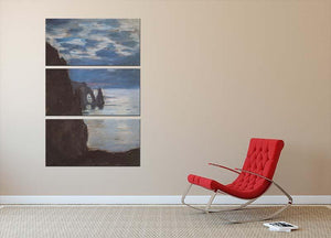Etretat by Monet 3 Split Panel Canvas Print - Canvas Art Rocks - 2