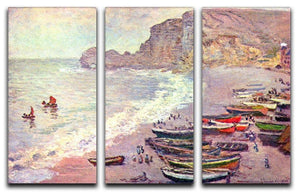 Etretat the beach and La Porte d'Amont by Monet Split Panel Canvas Print - Canvas Art Rocks - 4
