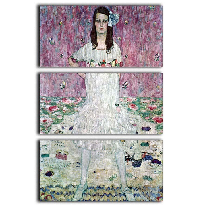 Eugenia Primavesi by Klimt 3 Split Panel Canvas Print