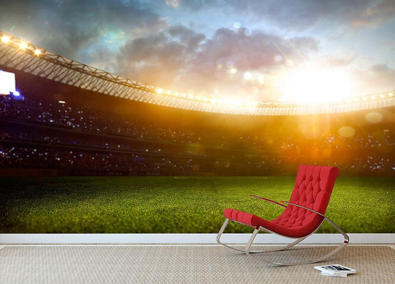 Evening stadium arena Wall Mural Wallpaper - Canvas Art Rocks - 1