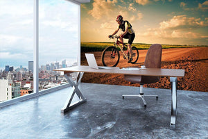 Extreme biking in motion Wall Mural Wallpaper - Canvas Art Rocks - 3