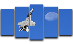 F-18 and the Moon 5 Split Panel Canvas  - Canvas Art Rocks - 1