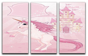 Fairy Tale Castle and Unicorn 3 Split Panel Canvas Print - Canvas Art Rocks - 1