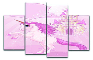 Fairy Tale Castle and Unicorn 4 Split Panel Canvas  - Canvas Art Rocks - 1