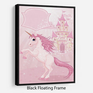Fairy Tale Castle and Unicorn Floating Frame Canvas