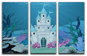 Fairy Tale Mermaid Princess Castle 3 Split Panel Canvas Print - Canvas Art Rocks - 1