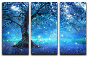 Fairy Tree In Mystic Forest 3 Split Panel Canvas Print - Canvas Art Rocks - 1